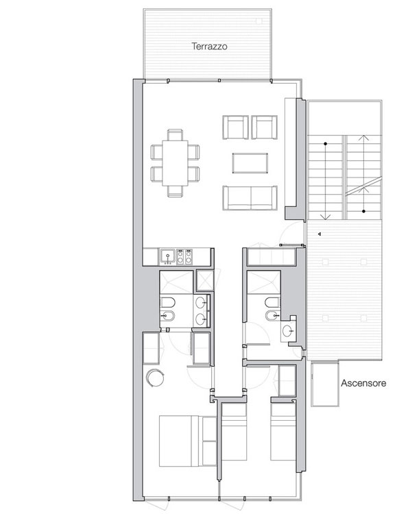 Appartamento Jesolo The Beach Houses 206 pianta