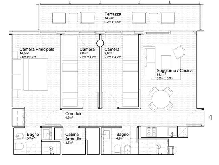 Appartamento Jesolo The Summer Houses G302 East pianta