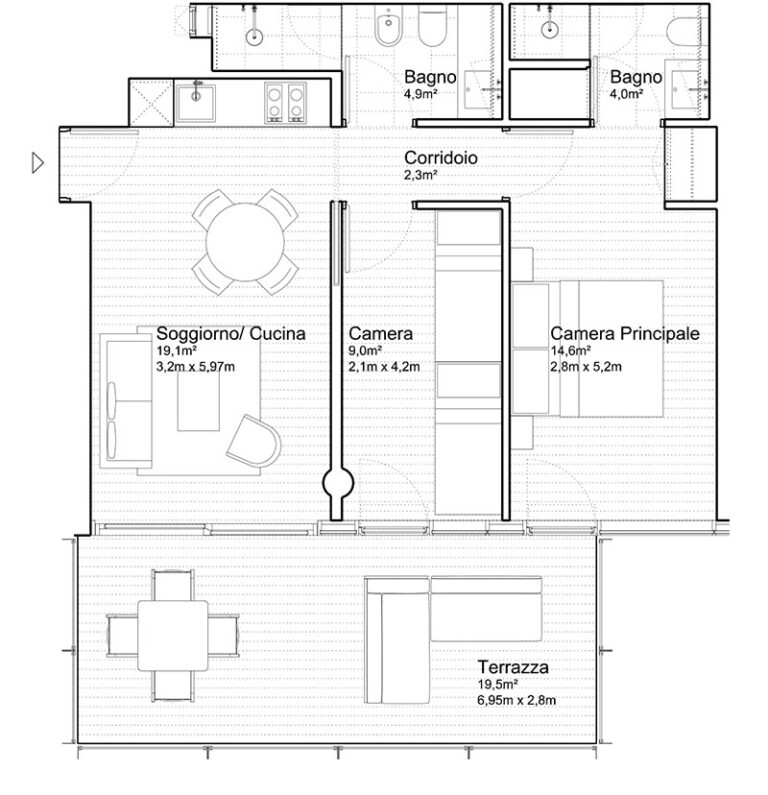 Appartamento Jesolo The Summer Houses G403 West pianta
