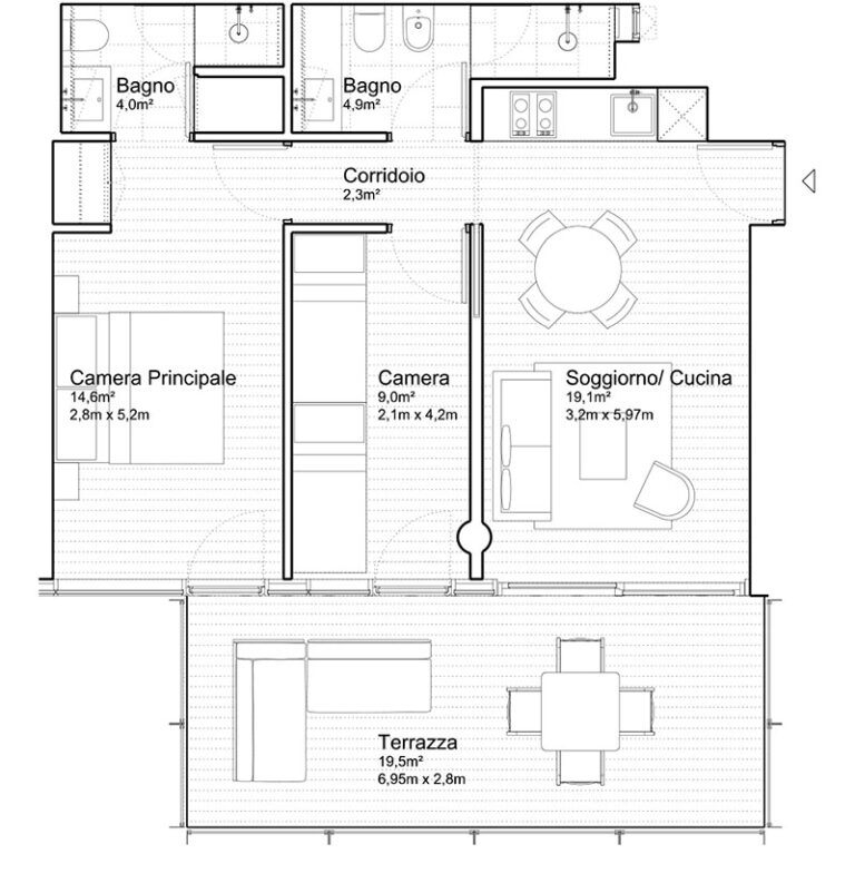 Appartamento Jesolo The Summer Houses G404 West pianta