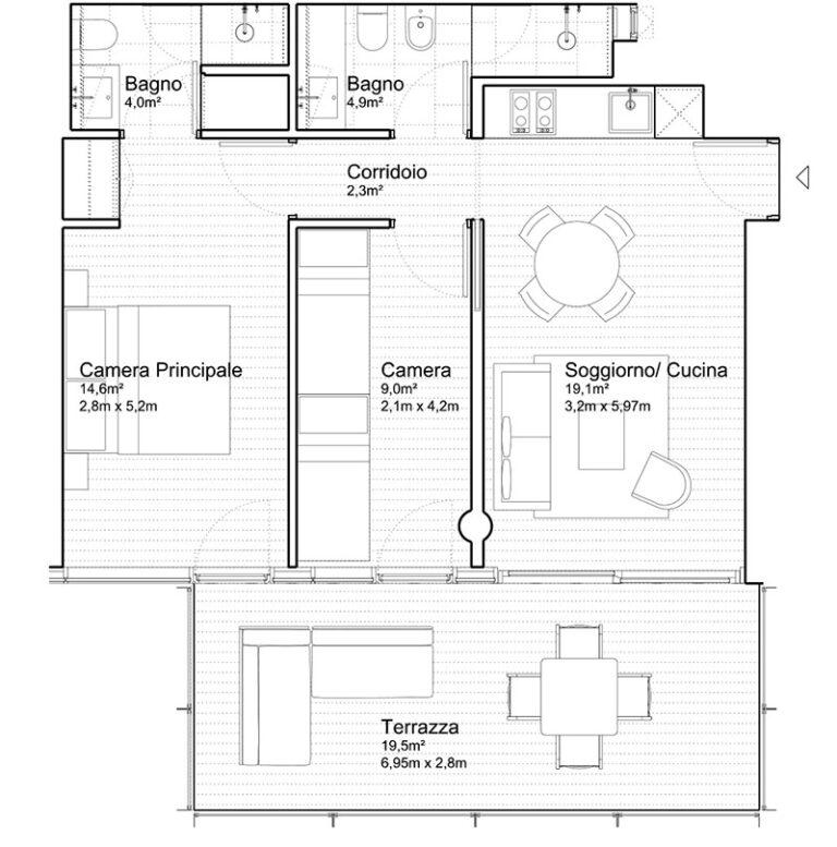 Appartamento Jesolo The Summer Houses G504 West pianta