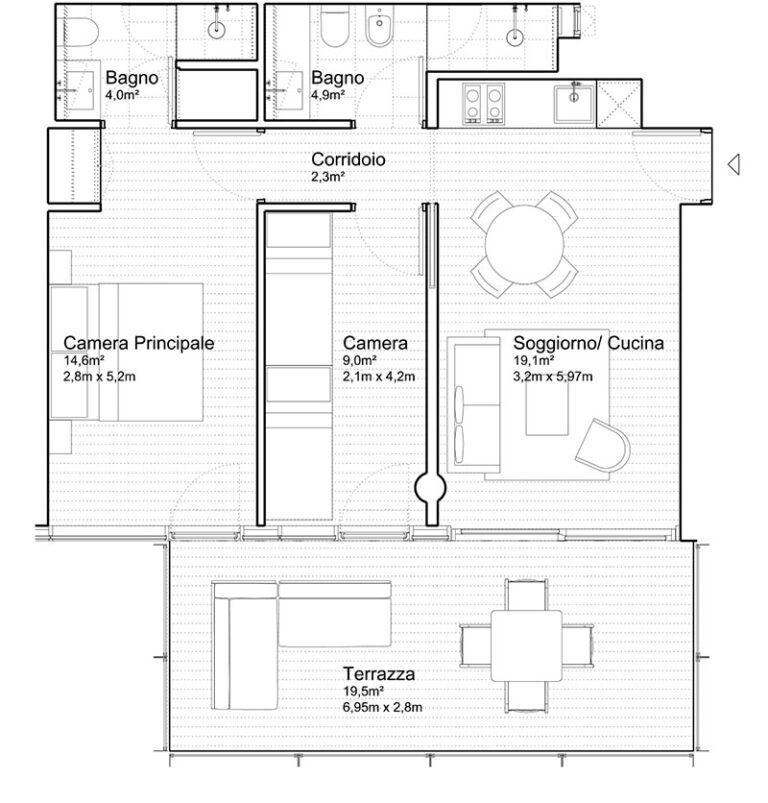 Appartamento Jesolo The Summer Houses G104West pianta